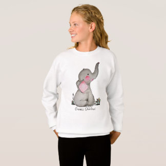Watercolor Cute Baby Elephant With Blush & Flowers Sweatshirt