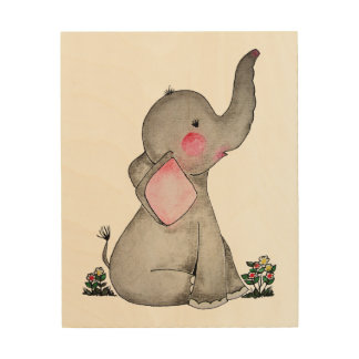 Watercolor Cute Baby Elephant With Blush & flowers Wood Print