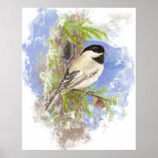 Watercolor Cute Chickadee Bird Nature Art Poster