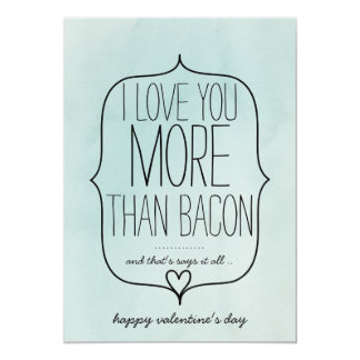 Watercolor Cute Heart Funny Bacon Valentines Day Card
