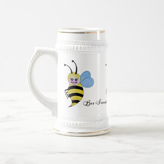 Watercolor Cute Honey Bee With Happy Smile Beer Stein