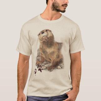 Watercolor Cute Otter Animal Nature Art T-Shirt