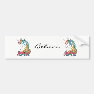 Watercolor cute rainbow unicorn bumper sticker