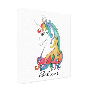 Watercolor cute rainbow unicorn canvas print