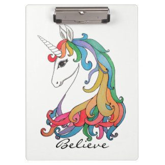 Watercolor cute rainbow unicorn clipboard