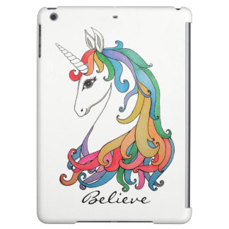 Watercolor cute rainbow unicorn cover for iPad air