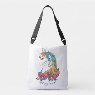 Watercolor cute rainbow unicorn crossbody bag