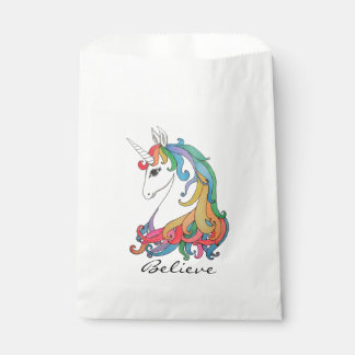 Watercolor cute rainbow unicorn favour bag