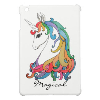 Watercolor cute rainbow unicorn iPad mini cover