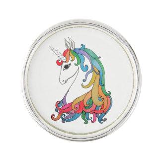 Watercolor cute rainbow unicorn lapel pin