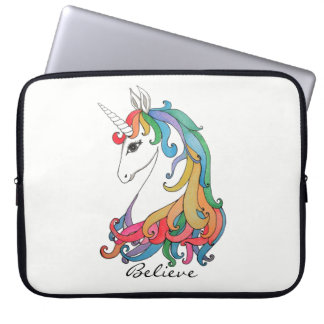 Watercolor cute rainbow unicorn laptop sleeve