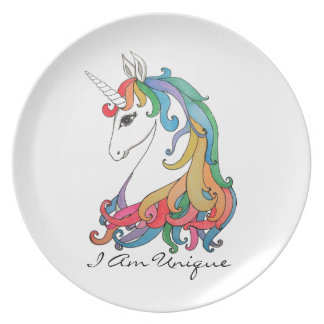 Watercolor cute rainbow unicorn plate