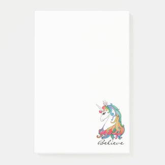 Watercolor cute rainbow unicorn post-it notes