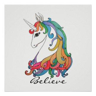 Watercolor cute rainbow unicorn poster