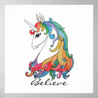 Watercolor cute rainbow unicorn poster