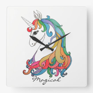 Watercolor cute rainbow unicorn square wall clock