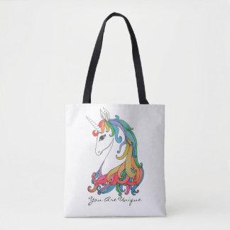 Watercolor cute rainbow unicorn tote bag
