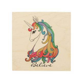 Watercolor cute rainbow unicorn wood wall art
