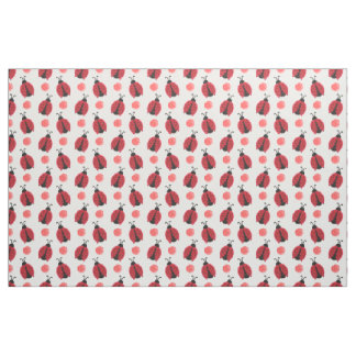 watercolor cute red ladybugs polkadots fabric