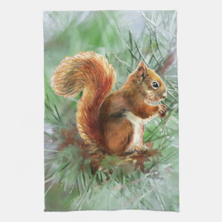 Watercolor Cute Red Squirrel Animal Nature Art Kitchen Towel