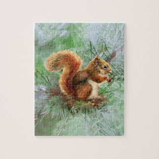Watercolor Cute Red Squirrel Nature art Jigsaw Puzzle