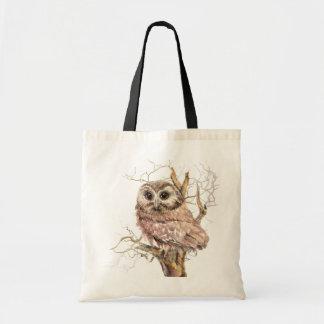 Watercolor Cute Saw Whet Owl, Bird Tote Bag