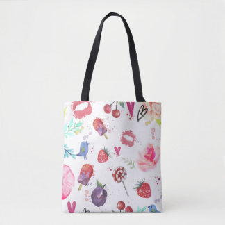 Watercolor Cute Summer Eements Tote Bag