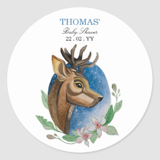 Watercolor Cute to deer design for baby shower. Classic Round Sticker