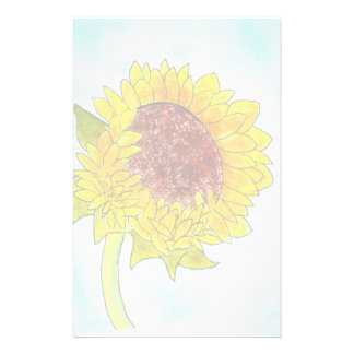 Watercolor Cute Yellow Sunflower Personalized Stationery