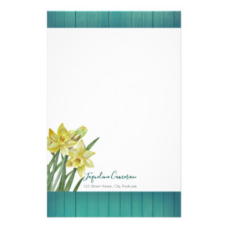 Watercolor Daffodils Botanical Illustration Stationery