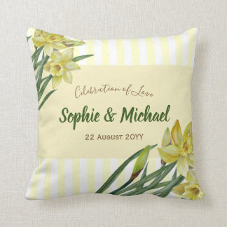 Watercolor Daffodils Flower Painting Illustration Throw Pillow