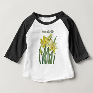 Watercolor Daffodils Flower Portrait Illustration Baby T-Shirt
