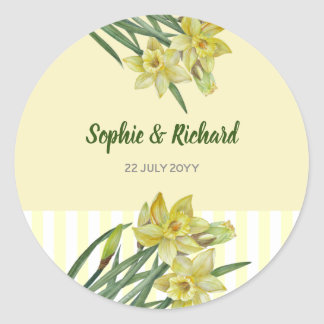 Watercolor Daffodils Flower Portrait Illustration Classic Round Sticker