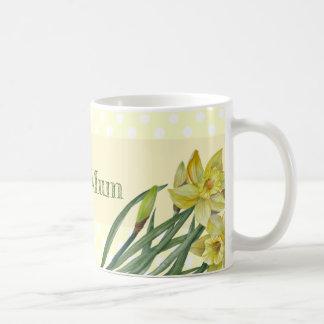 Watercolor Daffodils Flower Portrait Illustration Coffee Mug