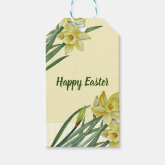Watercolor Daffodils Flower Portrait Illustration Gift Tags