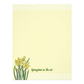 Watercolor Daffodils Flower Portrait Illustration Letterhead