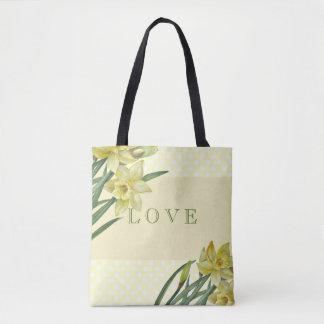 Watercolor Daffodils Flower Portrait Illustration Tote Bag