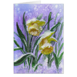Watercolor Daffodils in Snow with blank inside Card