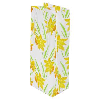 Watercolor Daffodils Pattern Wine Gift Bag