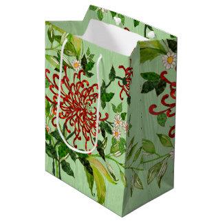 Watercolor Daisies and Butterflies v2 Medium Gift Bag