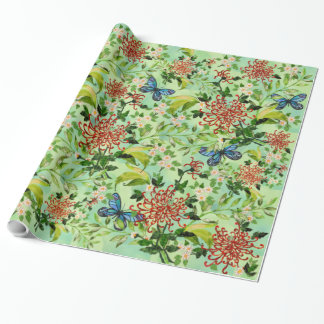 Watercolor Daisies and Butterflies Wrapping Paper