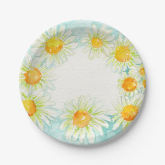 Watercolor Daisies Wreath Paper Plates 7 Inch Paper Plate