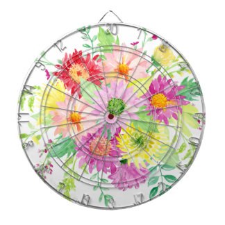 Watercolor daisy bouquet dart boards