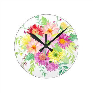 Watercolor daisy bouquet wallclock