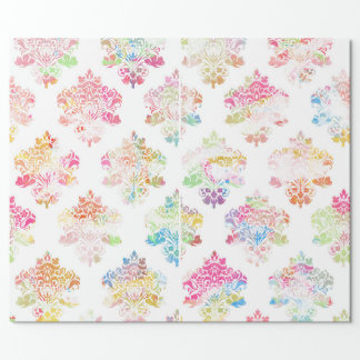 Watercolor damask wrapping paper