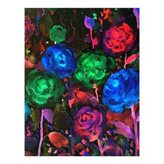 Watercolor dark rose pattern letterhead