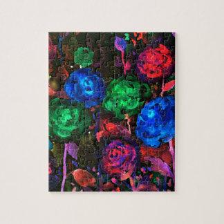Watercolor dark rose pattern puzzles