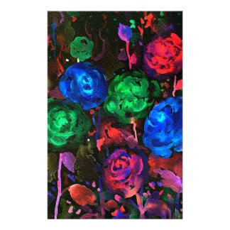 Watercolor dark rose pattern stationery