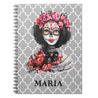 Watercolor Day of the Dead Skull Roses Pink Red Spiral Notebook