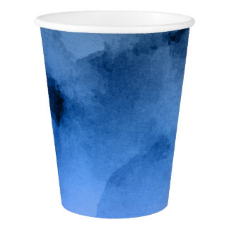 Watercolor Deep Blues Paper Cup